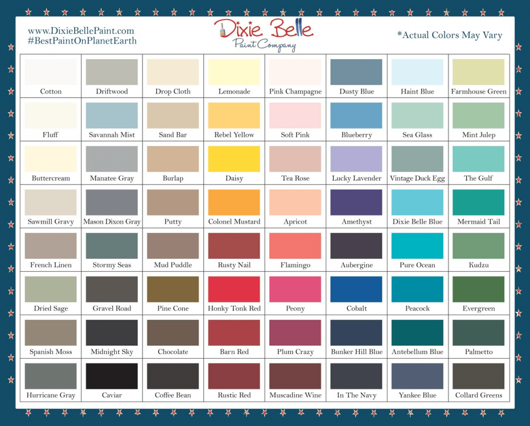 64 Dixie Belle Chalk Mineral Paint Colors to chose from for your furniture makeover ideas.