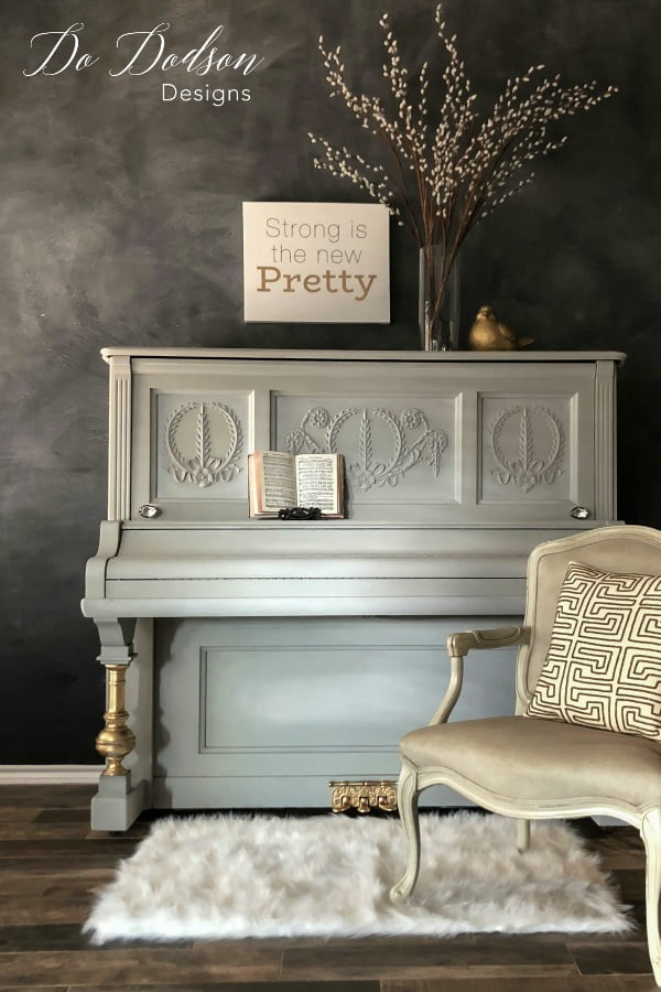 Driftwood is an amazing shade of gray chalk paint by Dixie Belle Paint Co. I painted this piano in one day using their chalk paint.