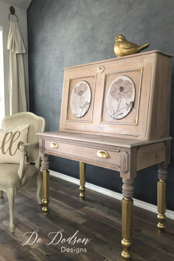 Chalk paint makes the perfect whitewash for wood furniture. I used Dixie Belle Paint and diluted butter cream with water to create this look with GOLD accents.