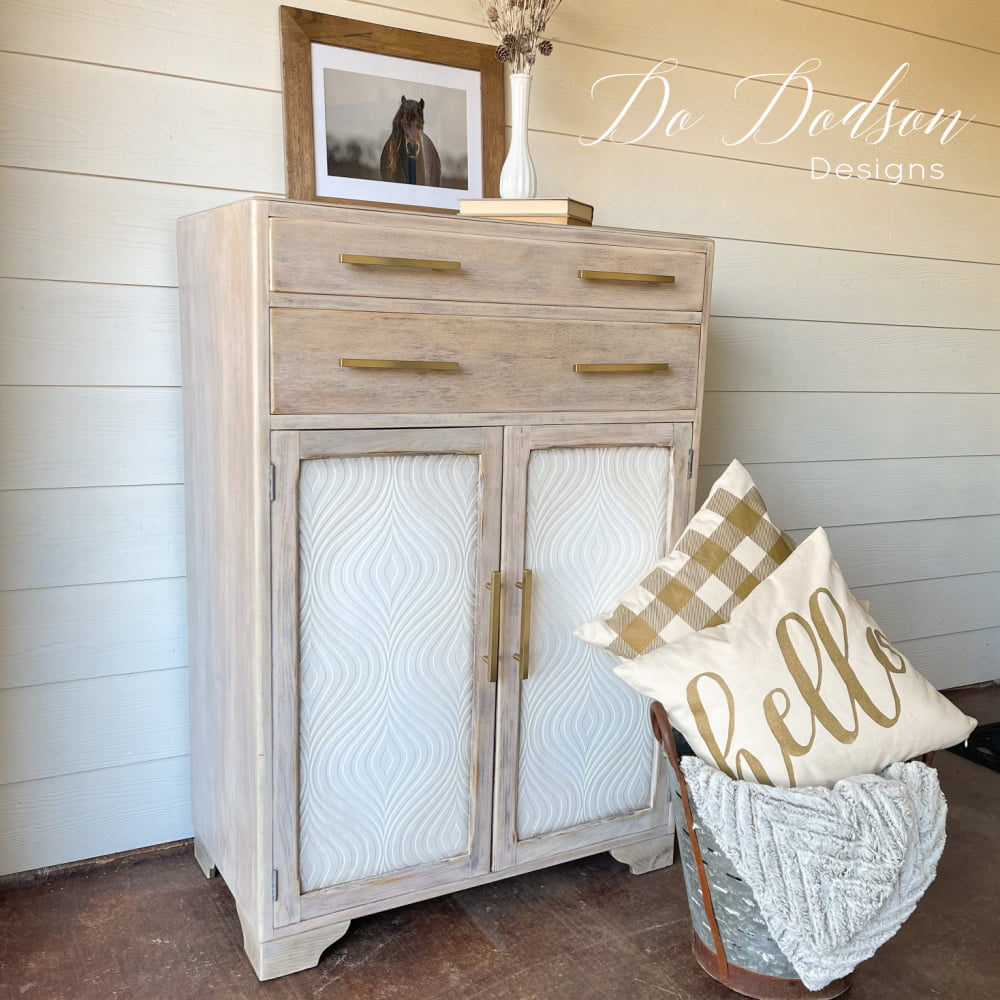 WOW!!! Adding paintable wallpaper on this cabinet dresser really was a great idea. It added texture and a modern farmhouse vibe that is stunning. A real fixer upper!