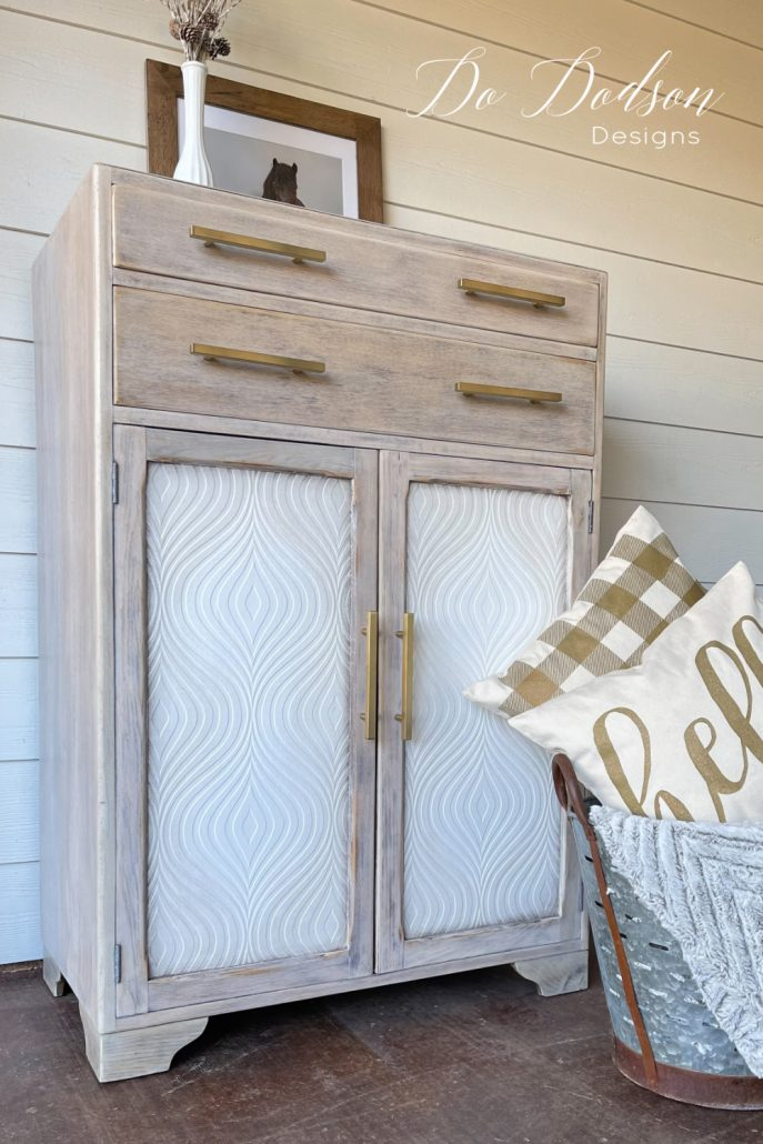 Updating wood furniture with wallpaper is a quick and easy way to change the whole look and feel of your project. Head on over to my blog to see the before. It's shocking!