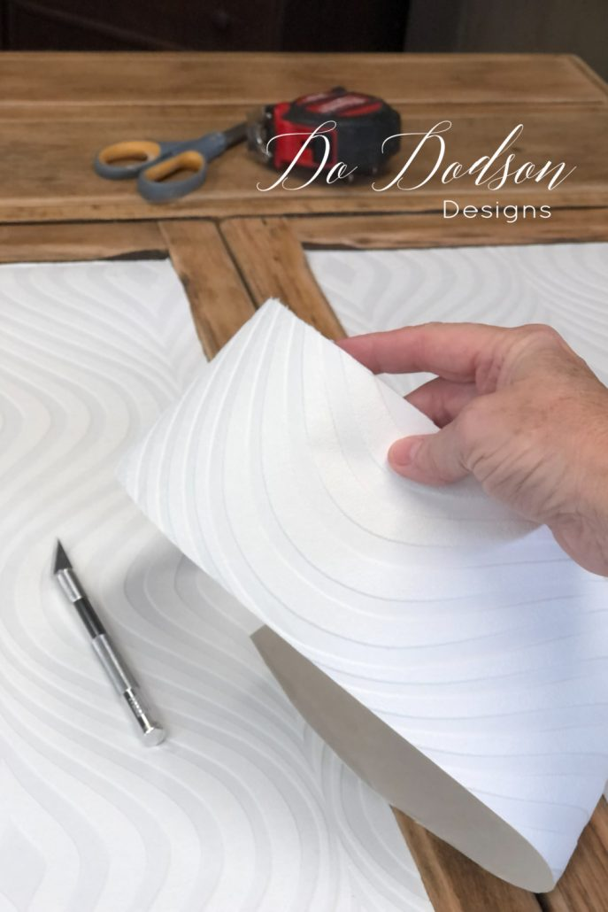 It's easy to update furniture with paintable wallpaper. Simply cut what you need and glue it in place. The rest is up to you. Chose the color you love and paint away. for a fabulous look.
