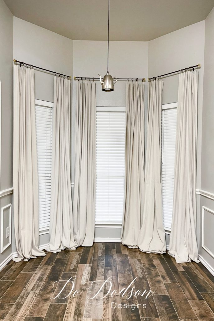 I L-O-V-E how my DIY drop cloth curtains turned out. Especially the puddling on the floor. It gives my space an earthy organic feel with a bit of formality.