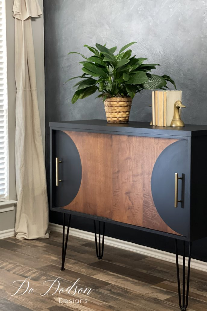 Check out the edgy design I chose for this MCM Credenza and I'm seriously swooning over those hairpin legs. Hello, I think the 1970s wants its furniture back! And no one will know it's laminate. It's our secret.