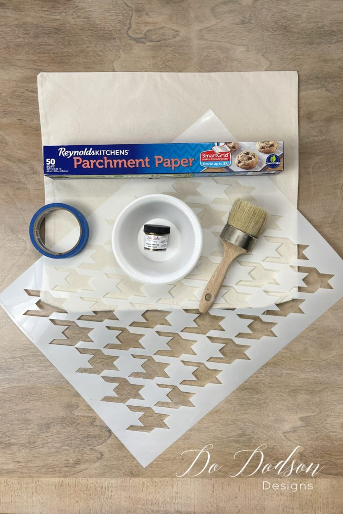 Here are the supplies you'll need to stencil on fabric.