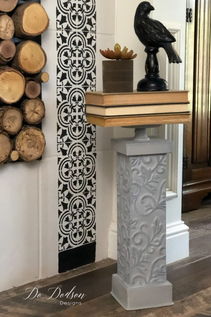 Here's a fun design to create! Try stacking a few books on a candle stand and top with your favorite decor. But if you have pups inside your home as I do... this might not be a great option, But isn't it pretty?