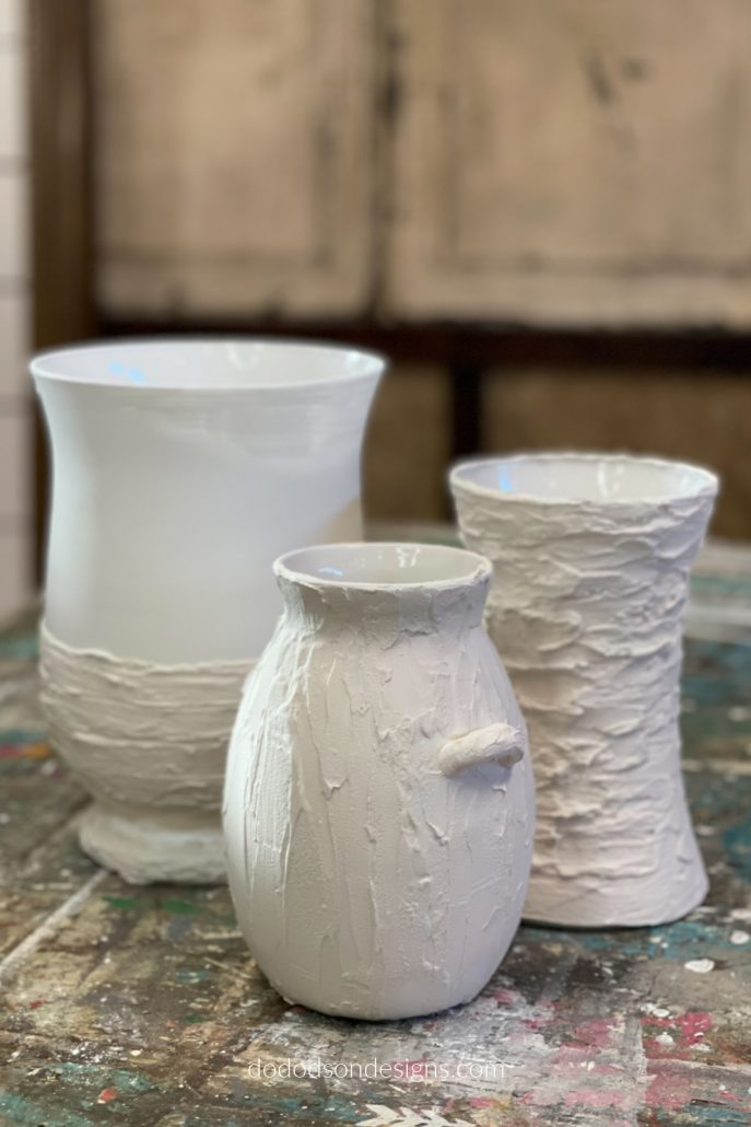 Adding texture to these thrift store décor finds was easy! Now, it's time to add paint to these DIY pottery Barn inspired vases.