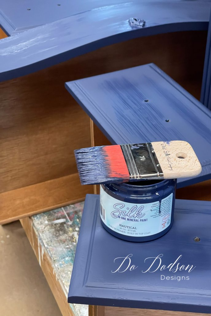 I love the smooth finish that the Silk All-In-One Mineral Paint leaves on wood furniture. Get my honest review and step by step process on my blog.