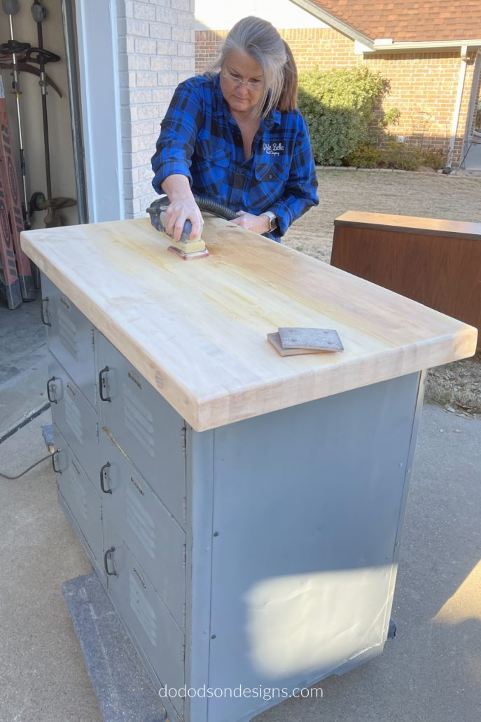 I found these vintage lockers with a butcher block top added that needed to be restored. The first thing I did was to sand away the varnish that had been applied.