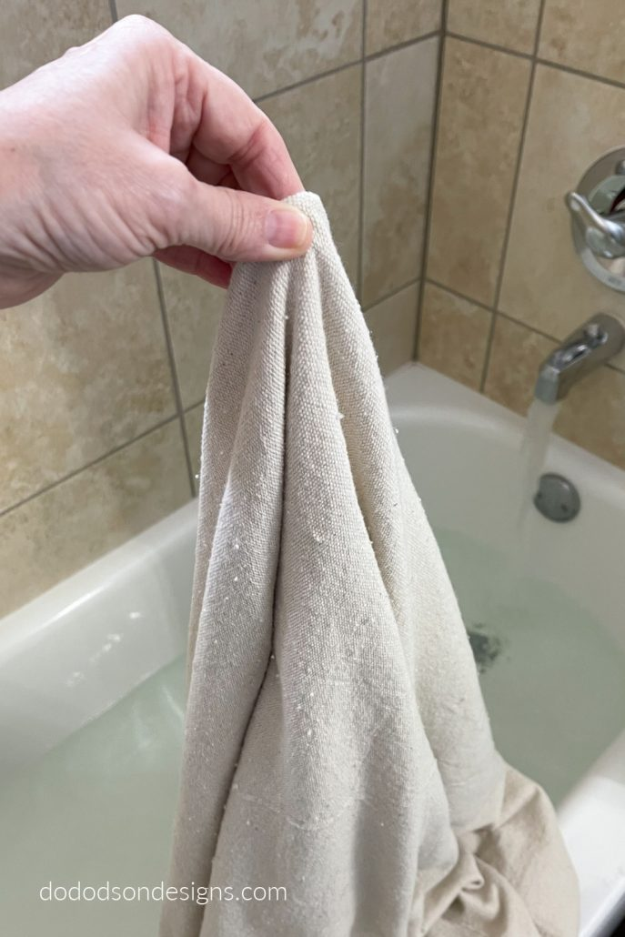 I used my bathtub for bleaching my drop cloths for curtains. It's a great option if you have a front loading washing machine and can't soak them properly.
