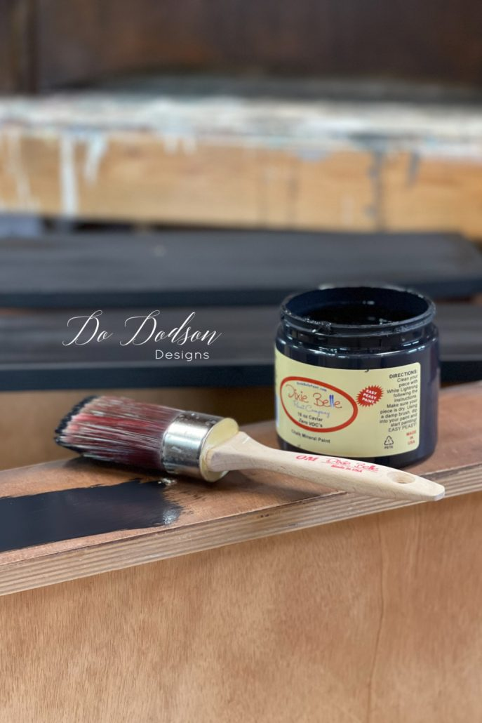 My favorite paint and stain combo on furniture is dark walnut and black caviar. It's so rich!