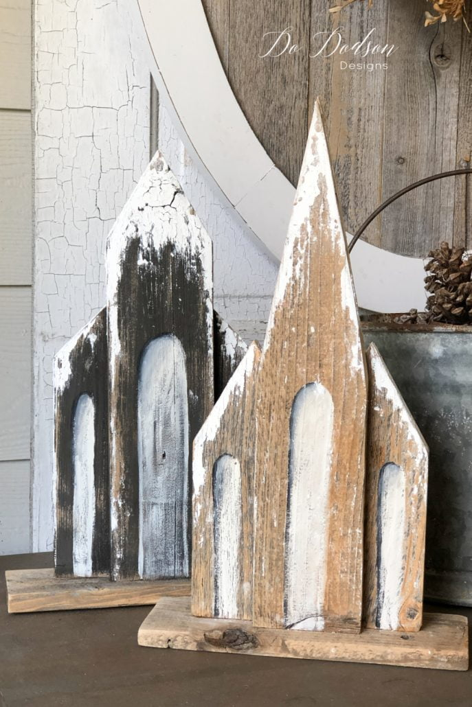 These DIY wooden churches take me all the way back to my childhood growing up in a rural farming community. The memories of sitting in church with my Grandmother lead me to use my scrap wood to create this memory.