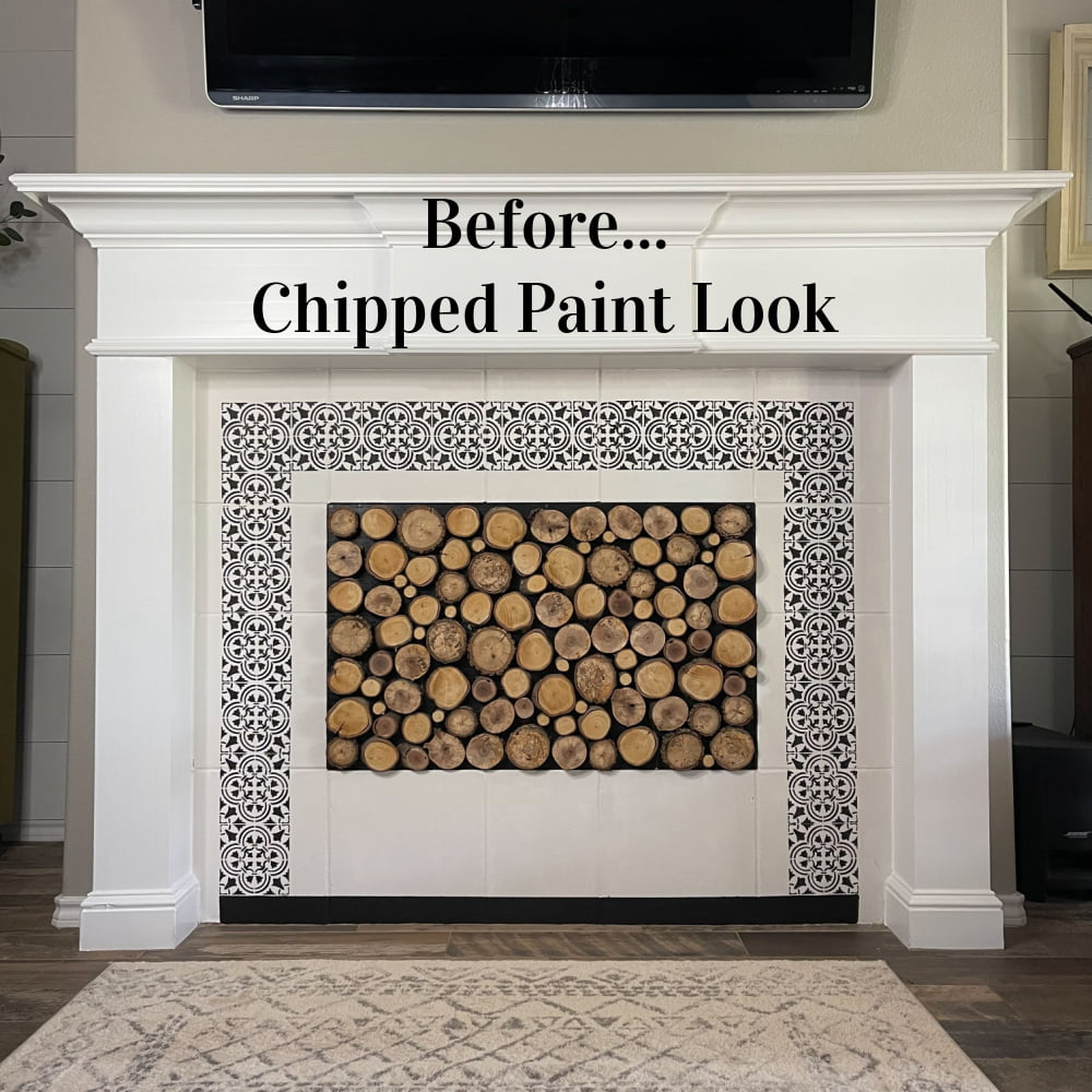 Today I'm working on my traditional fireplace to give it more of a vintage feel with this DIY chipped paint technique. Why not incorporate a little vintage feel in the mix. I do what I love in my home, and I can't wait to share this with you.