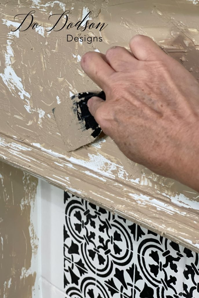 Texture paint is super easy to make and is the perfect option for creating a faux chipped paint look on just about anything you want to add a vintage look to.