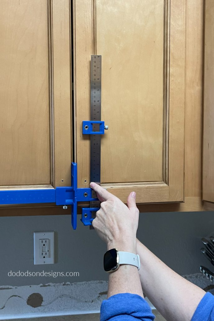 Try this cool tool when updating your kitchen cabinet hardware. It so easy to get the perfect holes so your hardware has perfect alignment.