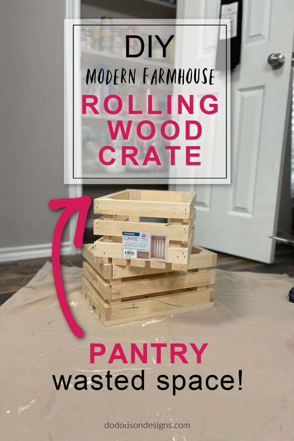 DIY Rolling Wood Crate - Pantry Floor Storage