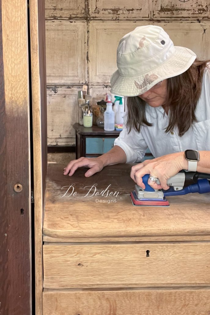When stripping away an old finish, I find it easier to simply sand it off rather than using harsh chemicals. My SurfPrep Sander makes it quick and easy!