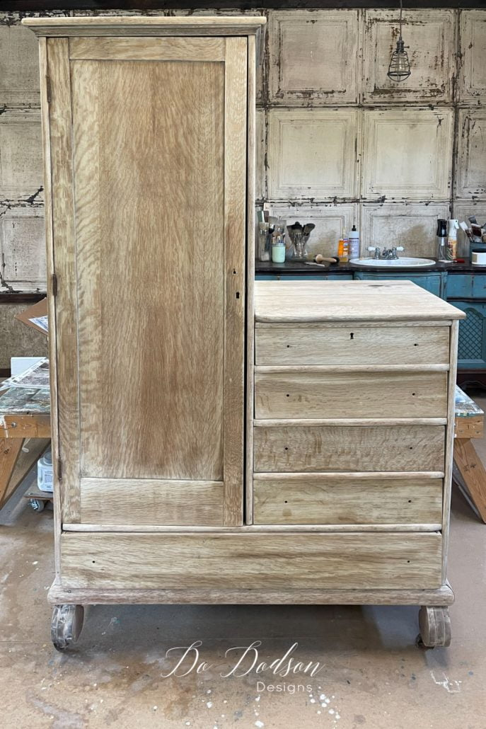 Bleaching the wood on this antique chifforobe allowed the tiger oak grain to really show it itself off. Easy DIY!