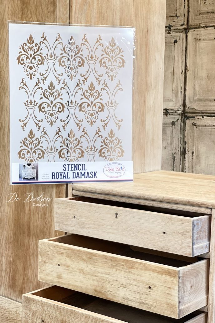 How To Stencil The Sides Of Drawers On Wood Furniture.