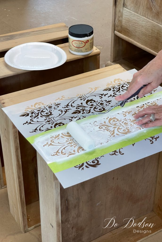 How To Stencil On Wood Furniture... Peek-A-Boo Drawers