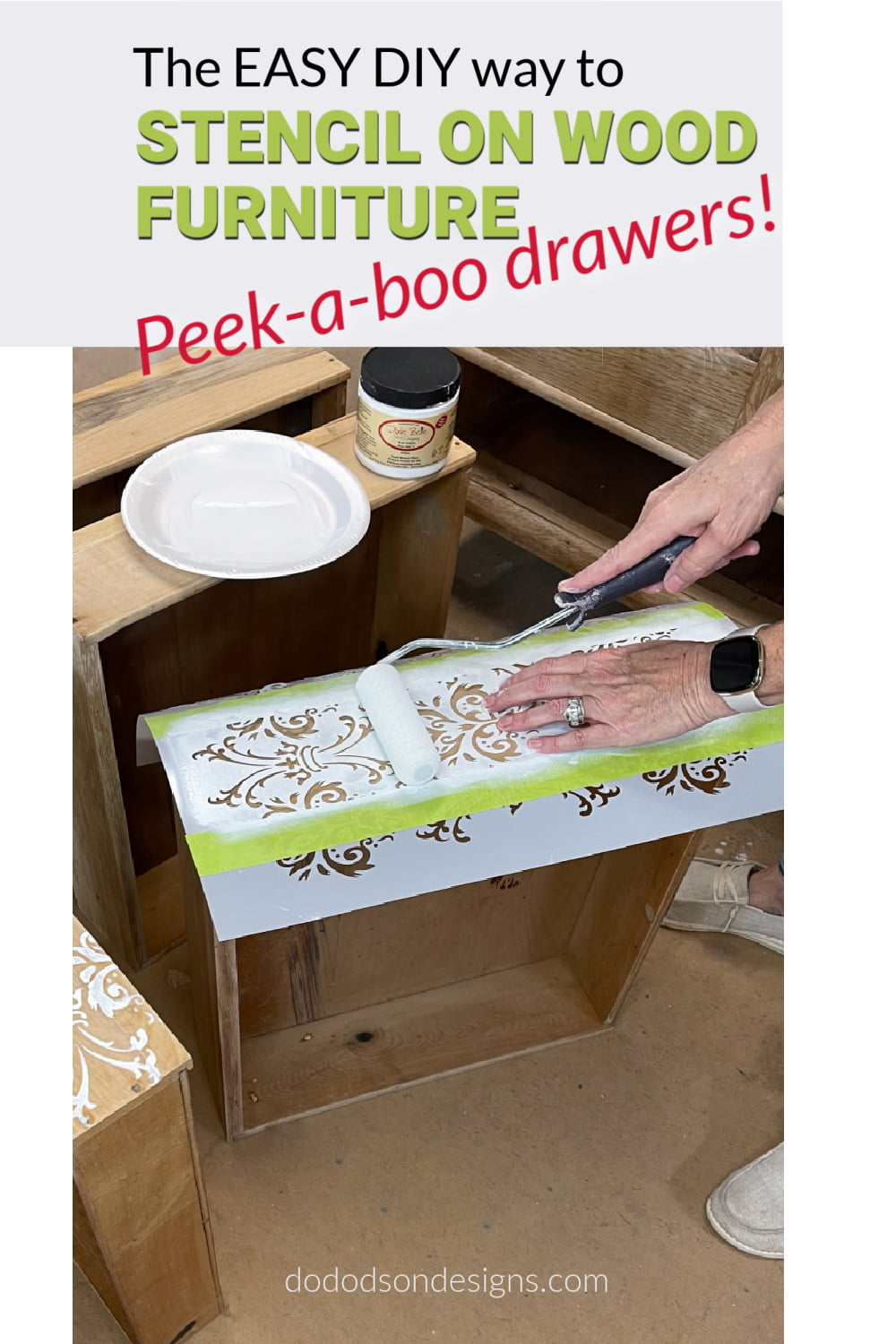 How To Stencil On Wood Furniture | Peek-a-boo Pattern