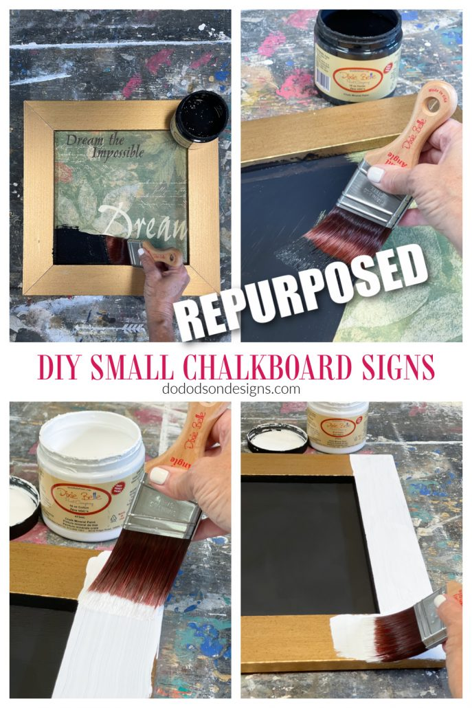 Learn how to repurpose thrift store art into CUTE DIY small chalkboard signs.