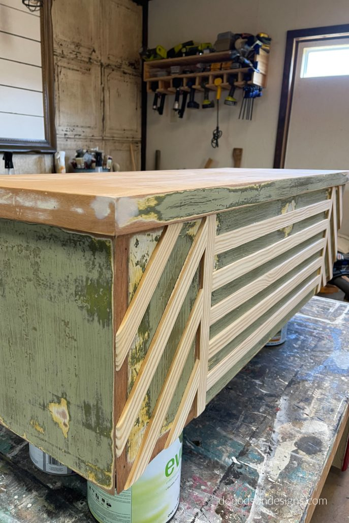 I added wood trim to create a unique modern design on this DIY lane cedar chest makeover.