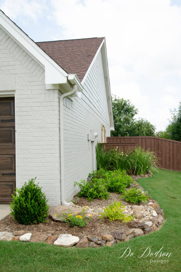 We used the colors Mindful Gray and Snowbound by Sherwin Williams to paint our exterior brick home. We could be happier.