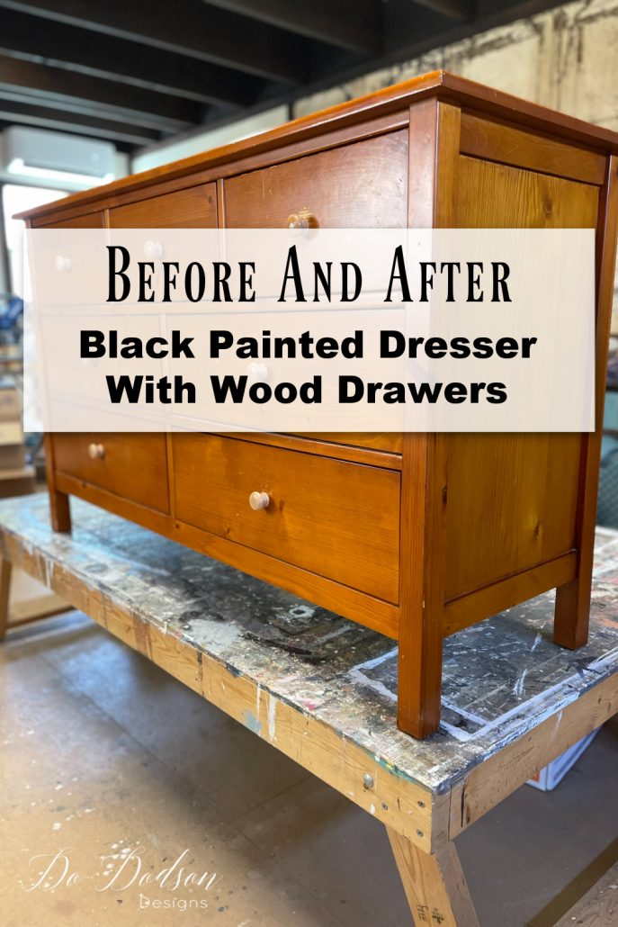 The before was pretty scary but the after is a classic black painted dresser with stained wood drawers. It was an easy DIY project and one I'll never forget!