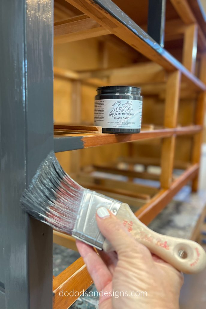This isn't just your average black paint. It's the All In-One-Mineral paint. This black painted dresser will will look amazing when I'm done. Wait till you see what I have in store for the wood drawers!