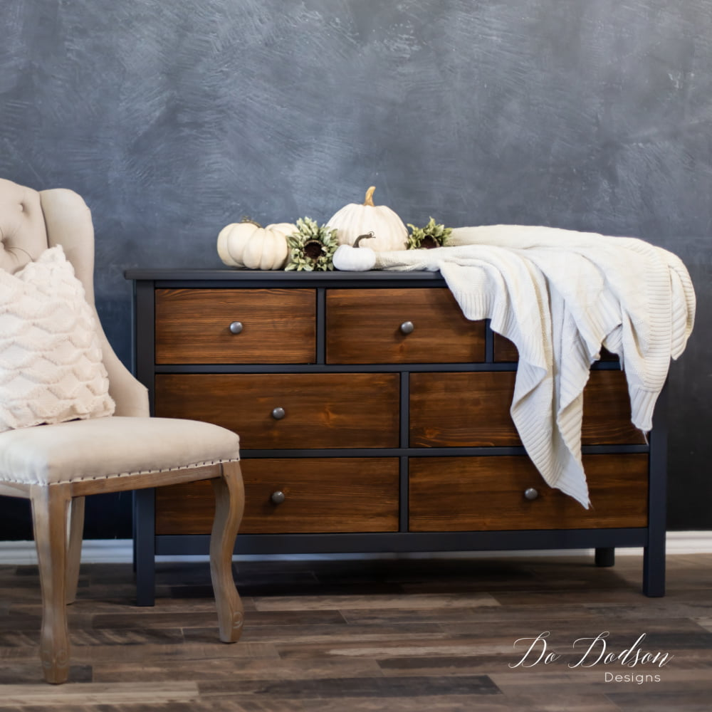 Learn how to refurbish an old dresser into this painted black beauty with wood stained drawers. DIY projects have never been easier with the right products. I can show you how!