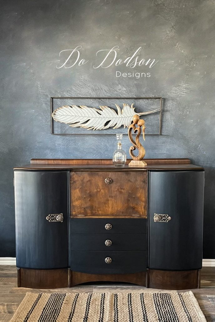 MCM Art Deco beauty! I knew from the minute I saw this piece the black paint and stain combo would be the theme. Learn how to DIY this look on your furniture on my blog.