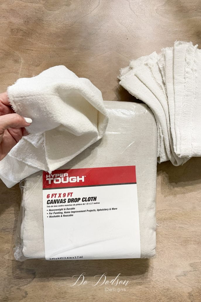 I love the organic look and feel of drop cloth and it makes beautiful table napkins.