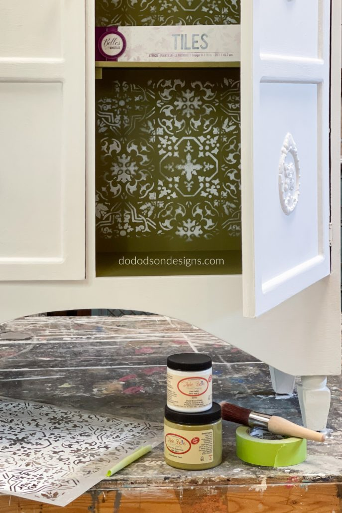 Easy Stencil Application On Chalk Painted Furniture