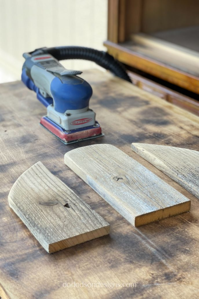 I smoothed the edges of the rustic wood pumpkins with my SurfPrep sander. It's my favorite tool in my studio! Time to assemble them. Come see!