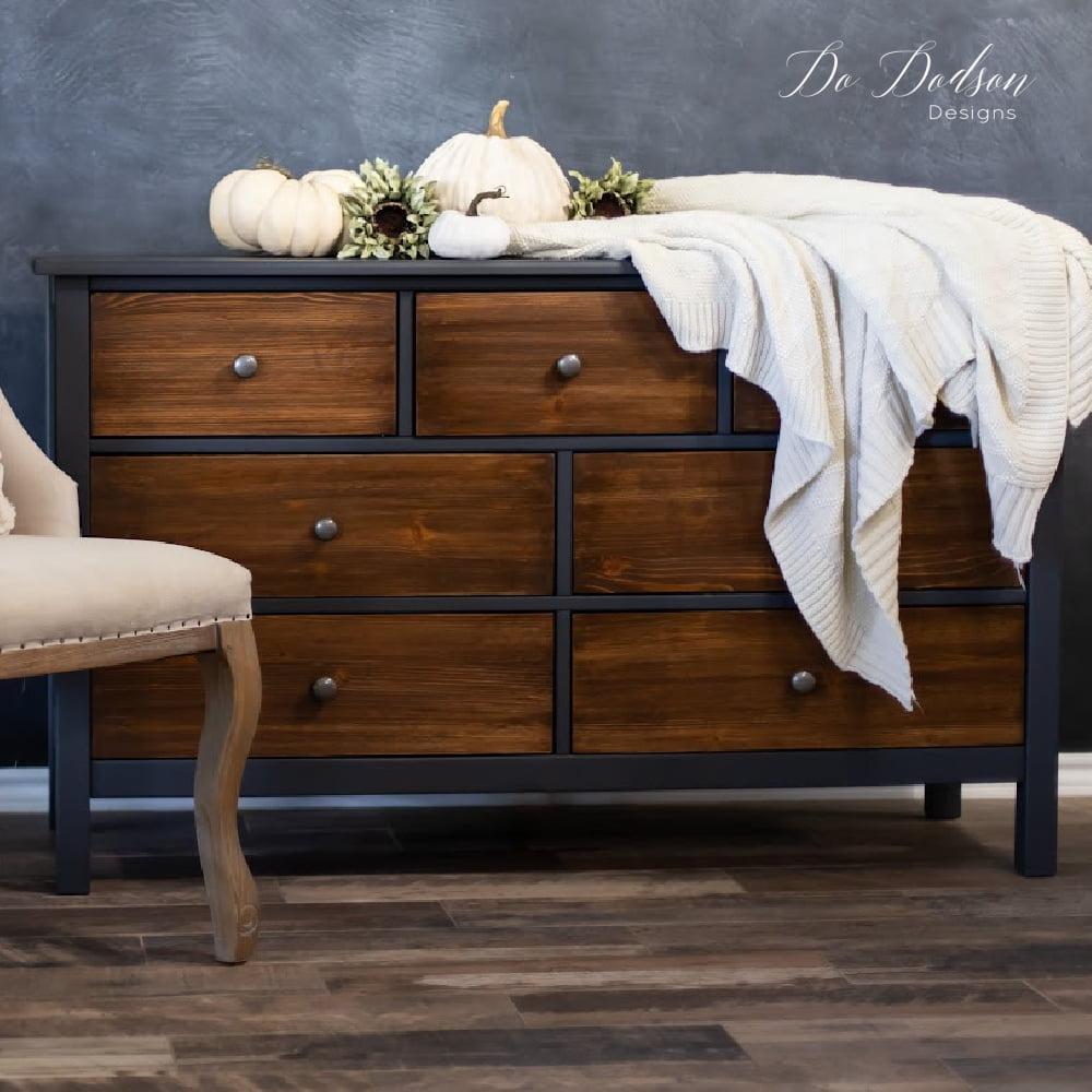DIY Black Painted Dresser With Wood Drawers