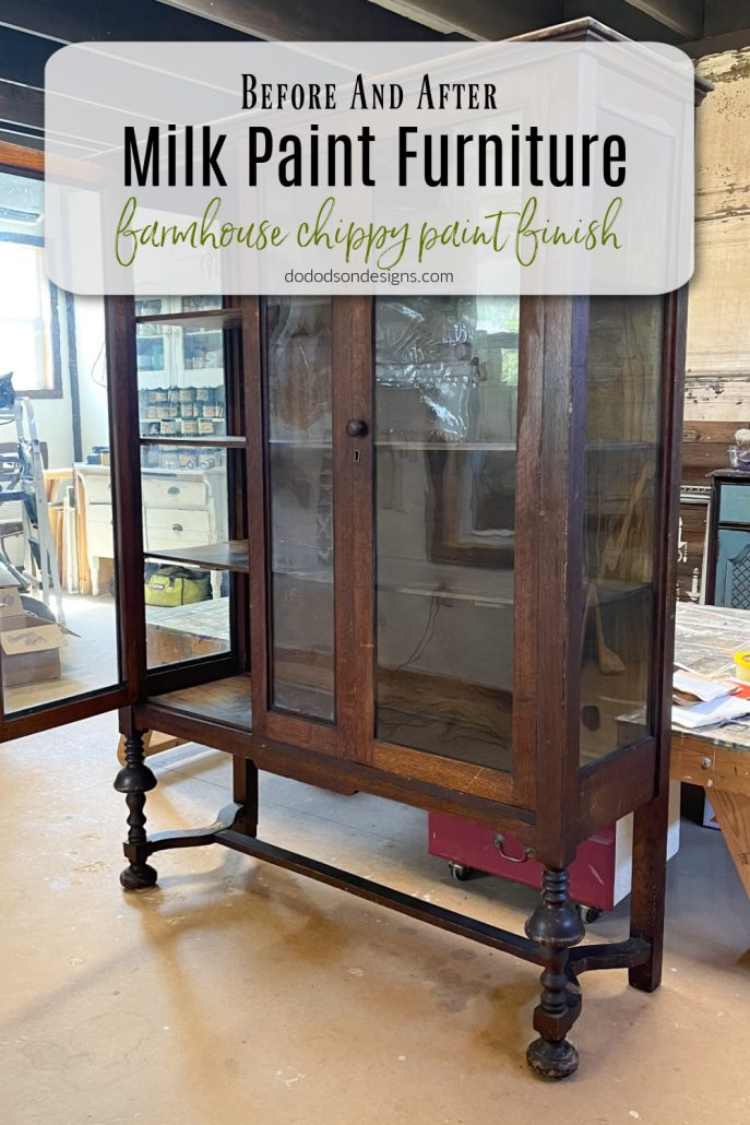 You've got see this before and after of an amazing chippy milk paint finish on this antique hutch. It's going to perfect addition to my farmhouse. style home.