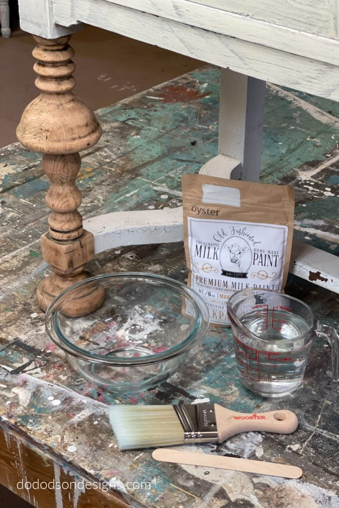 Here's what you'll need to create a chippy milk paint finish on you antique wood furniture.